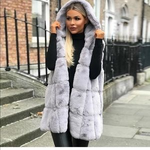 Jackets & Blazers - Grey imitation fur jacket with hoodie